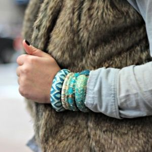 Large Feather Plume Hinged Bangle by Sequin